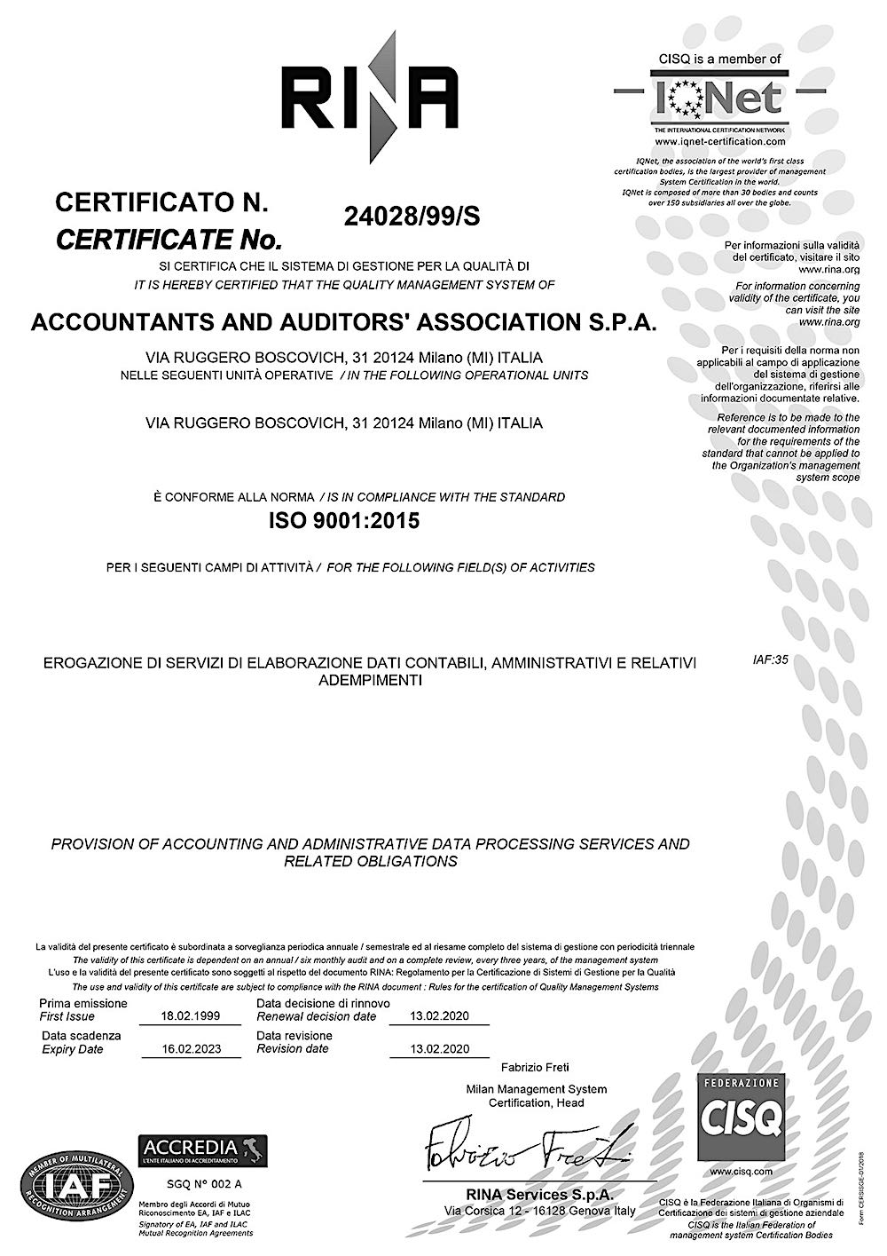 Certificazione ISO 9001 qualità RINA