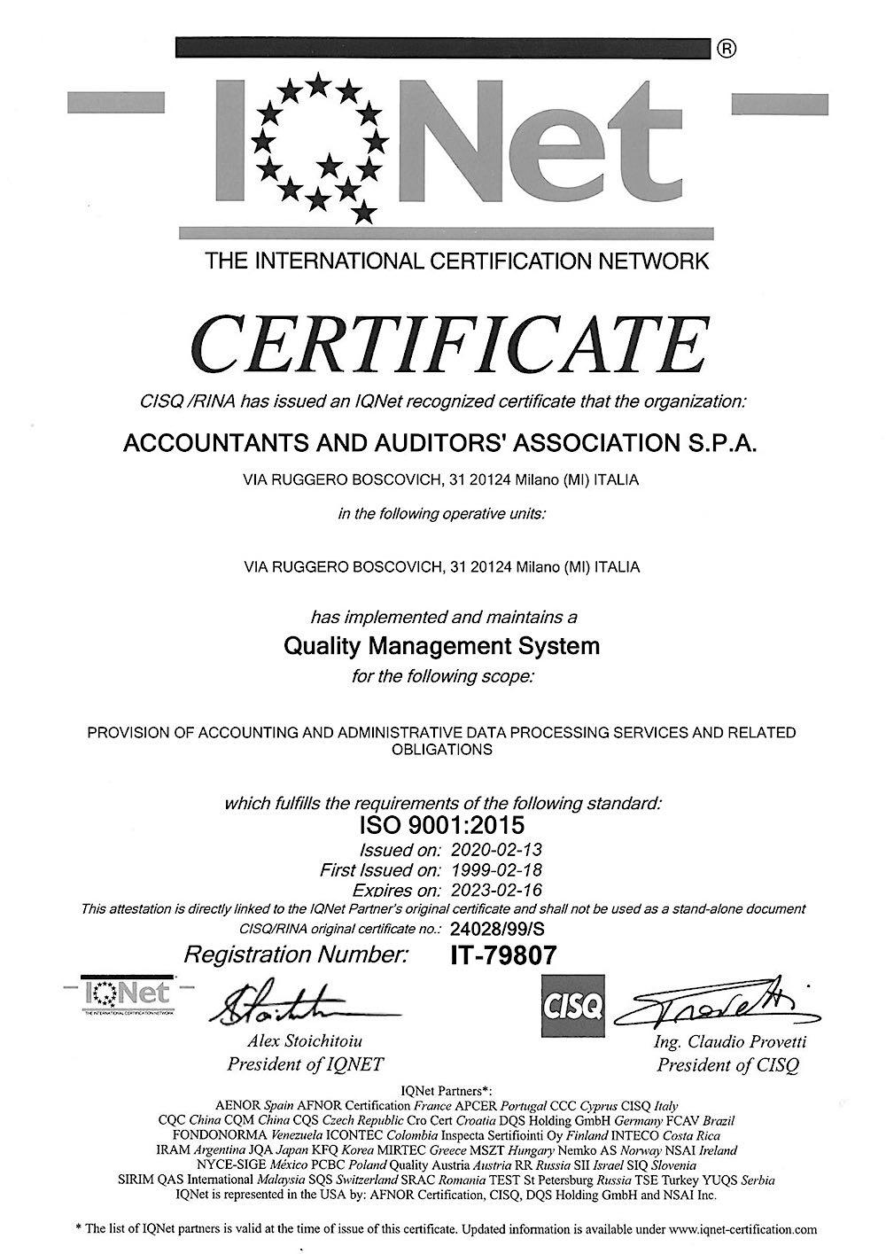 Certificato IQNet di qualità